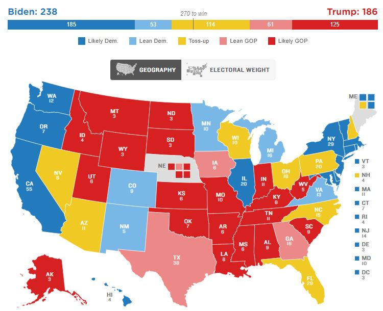 2020 Electoral Map Ratings: Biden Has An Edge Over Trump, With 5 Months To Go